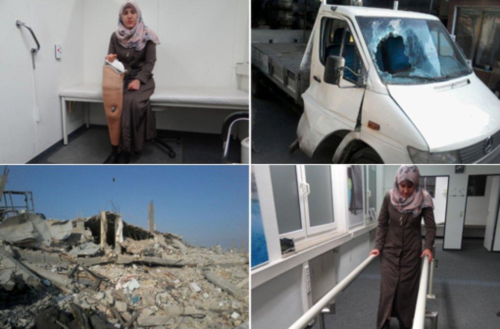 Im August 2014 verlor die junge Palästinenserin Eman Hamad bei einem israelischen Angriff auf ihre Heimatstadt Beit Hanun (links unten) im Gazastreifen ihr Bein, als eine Bombe neben dem Transporter, in dem sie saß, explodierte. Foto: Eman Hamad/Matthias Kapaun