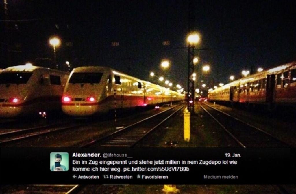 Vielleicht jetzt ein Beweismittel: Der Tweet des 16-Jährigen vom Abstellbahnhof. Inzwischen ermittelt die Bundespolizei. Foto: Montage aus dem betreffenden Tweet