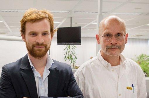 Die Spitzenkandidaten von SÖS und Linke: Hannes Rockenbach (li.) und Thomas Adler  . Foto: Michael Steinert