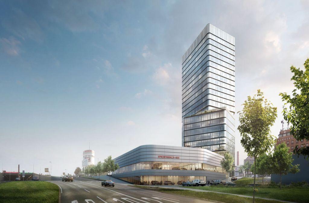 So soll das Porsche-Hochhaus auf dem Pragsattel aussehen. Foto: Visualisierung: Porsche/moka-studio
