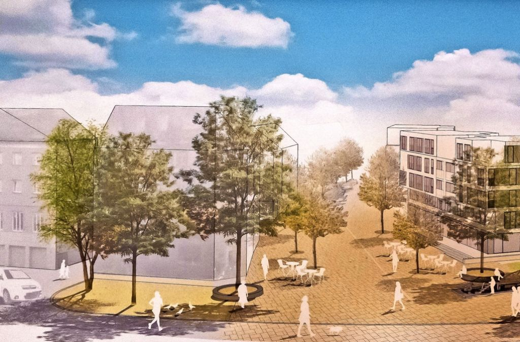 So könnte der neu gestaltete Schwanenplatz im Jahr 2019 einmal aussehen. Rechts sind die Wohngebäude zu sehen, mit deren Bau jetzt begonnen wird. Foto: Lichtgut/Achim Zweygarth