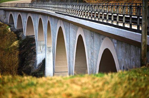 Waldbahn dampft   übers sanierte Viadukt