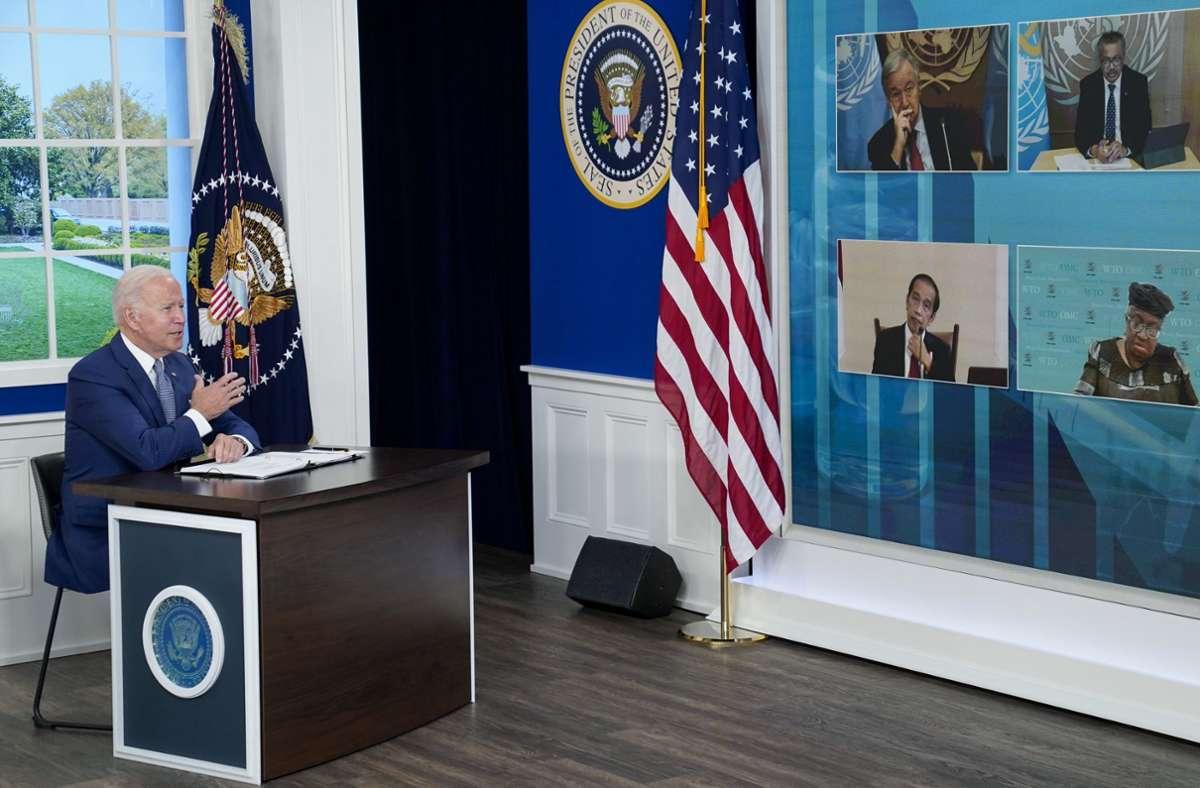 Joe Biden beim Online-Gipfel zur Pandemie. Foto: dpa/Evan Vucci