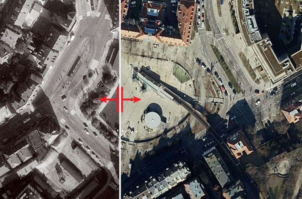 Der  Marienplatz hat sich über die Jahrzehnte baulich stark verändert, und  man nutzte ihn auch sehr unterschiedlich. Foto: