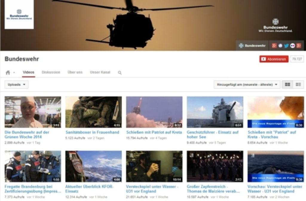 Der Youtube-Kanal der Bundeswehr muss von den Klickzahlen her den Vergleich mit bekannten Markenartiklern nicht scheuen. Die Top 10 auf Youtube zeigen wir in der folgenden Bilderstrecke. Foto: Screenshot/StZ