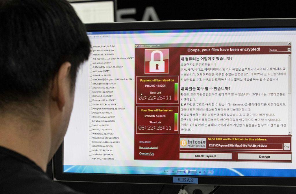 """Der Computerwurm  """"WannaCry"""" sorgte 2017 weltweit für Aufregung – so auch in Südkorea. Wenn es dumm läuft, könnte schon bald ein neues Schadprogramm eine globale Infektionswelle auslösen. Foto: AFP"""