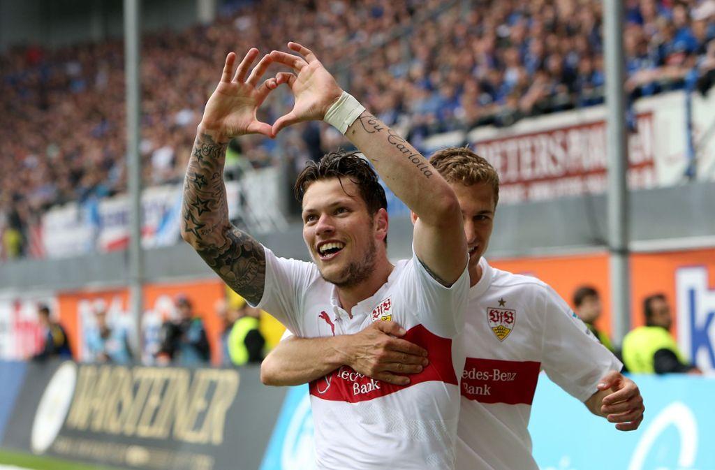 Dramatische Rettung gegen den SC Paderborn: Daniel Ginczek erlöste den VfB Stuttgart am 34. Spieltag der Saison 2014/2015. Wir zeigen, wie sich die jüngsten Abstiegskrimis entwickelten. Foto: Baumann