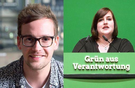 Marcel Roth (links) und Lena Schwelling setzten sich als Landesvorsitzende der Grünen Jugend im Südwesten bei der Wahl am Samstag in Aalen durch. Foto: dpa/Collage StZN