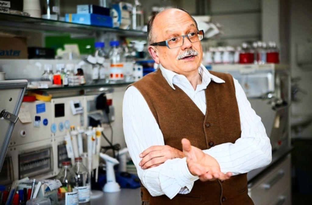 Der Stammzellforscher Konrad Kohler von der Uniklinik Tübingen gibt einen Einblick in die Labors seines Instituts. Foto: Anne Faden