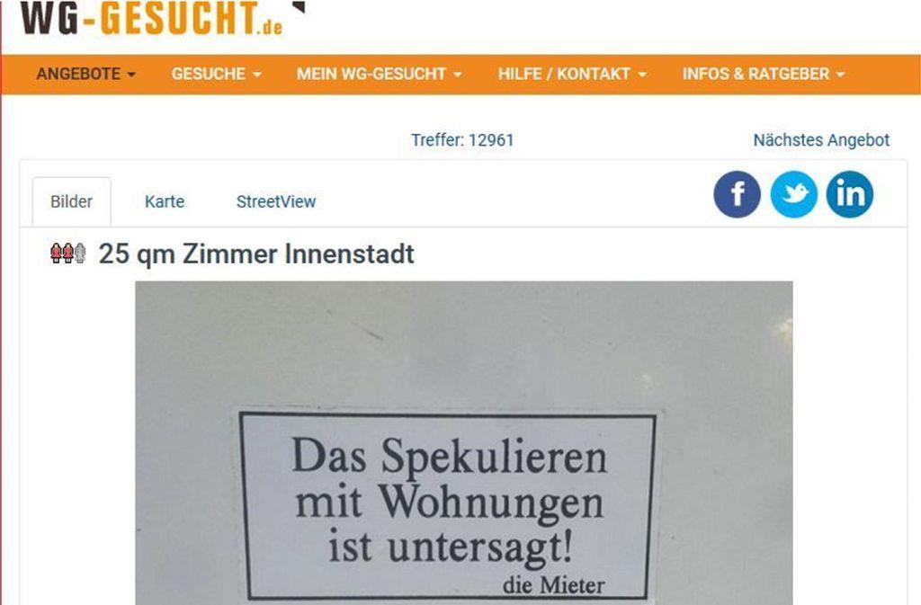 Für Stuttgarter Verhältnisse wäre 250 Euro für 25 Quadratmeter ein ziemlich niedriger Preis. Foto: Screenshot/wg-gesucht.de