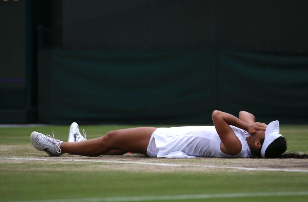 Konnte ihr Glück kaum fassen: Wimbledon-Siegerin Garbiñe Muguruza aus Spanien Foto: AFP