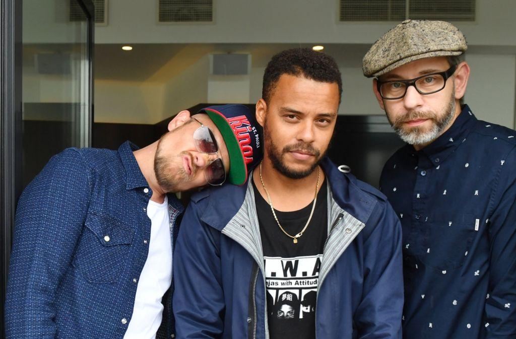 Die Beginner: Jan Delay (v.l.n.r.), Denyo und DJ Mad. Foto: dpa-Zentralbild
