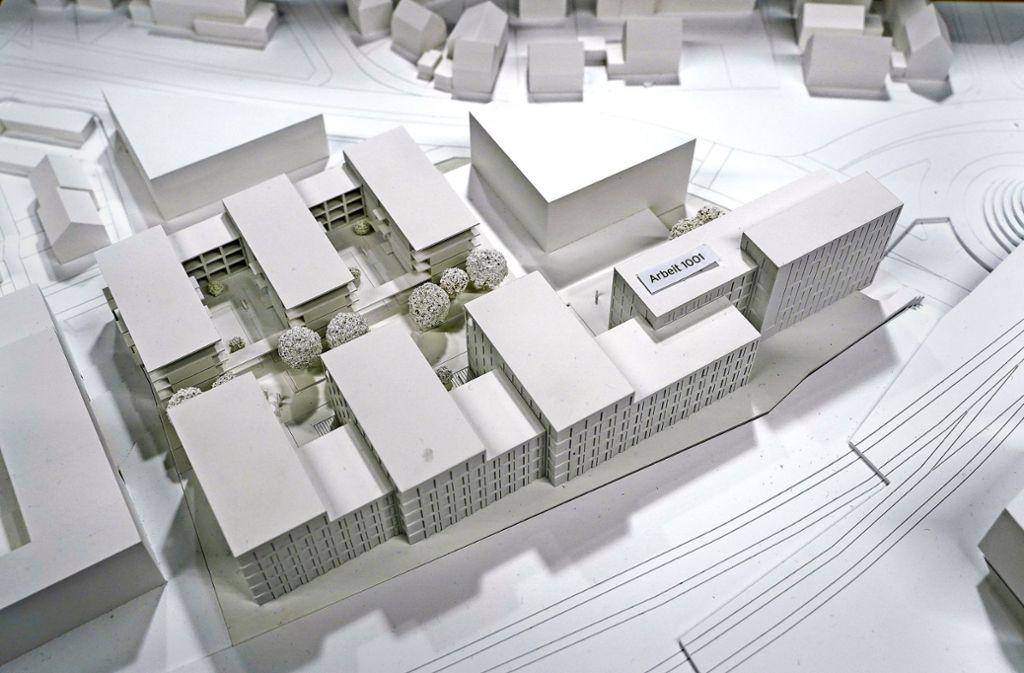 Den Bahnlärm schirmen Bürobauten ab. Deren Fassade gilt als neue Visitenkarte der Stadt Herrenberg. Foto: factum/Jürgen Bach