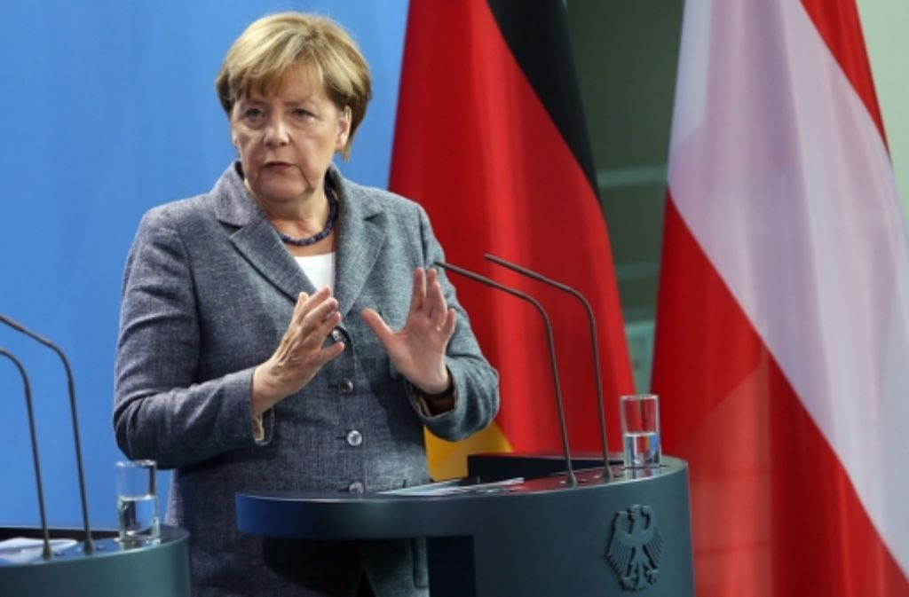 Die Bundeskanzlerin Angela Merkel hatte beim Treffen mit dem österreichischen Bundeskanzler Werner Faymann ein neues Krisentreffen der EU-Innenminister zur Flüchtlingskrise gefordert. Wenig später wurde die Ratssitzung einberufen. Foto: Getty Images Europe