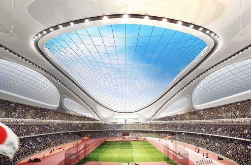 Der Entwurf des Olympiastadions: die einen finden ihn dynamisch-futuristisch, die anderen beschimpfen ihn als  protzigen Fahrradhelm. Foto: AP