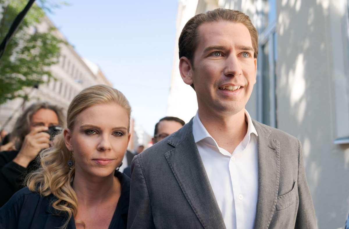 Österreichs Bundeskanzler Sebastian Kurz und seine Lebensgefährtin Susanne Thier. Foto: dpa/Georg Hochmuth