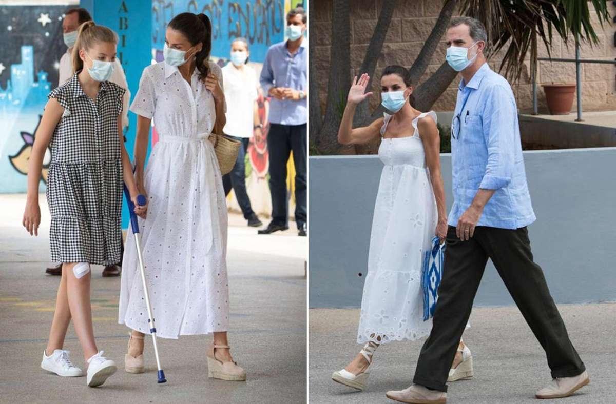 Königin Letizia von Spanien setzte bei ihrem Arbeitsurlaub auf Mallorca auf Kleider in Weiß – die Sommerfarbe schlechthin. Foto: AFP/Jaime Reina