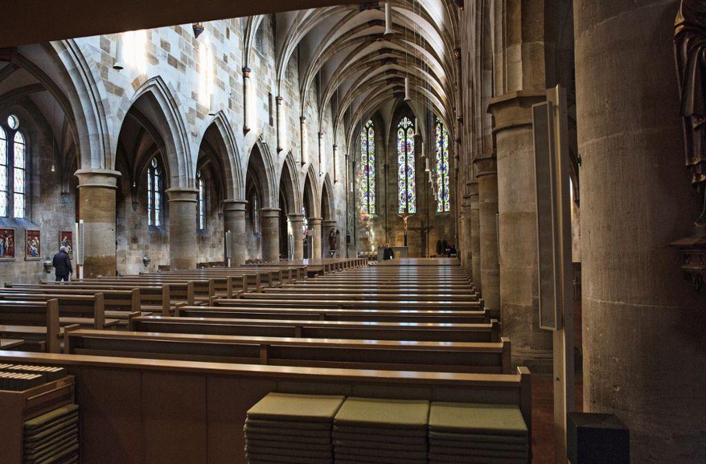 Aufgrund der Coronakrise werden die Bänke in den Esslinger Kirchen, wie hier im Münster St. Paul, ziemlich leer bleiben. Gottesdienste werden nicht mehr gehalten. Foto: Horst Rudel