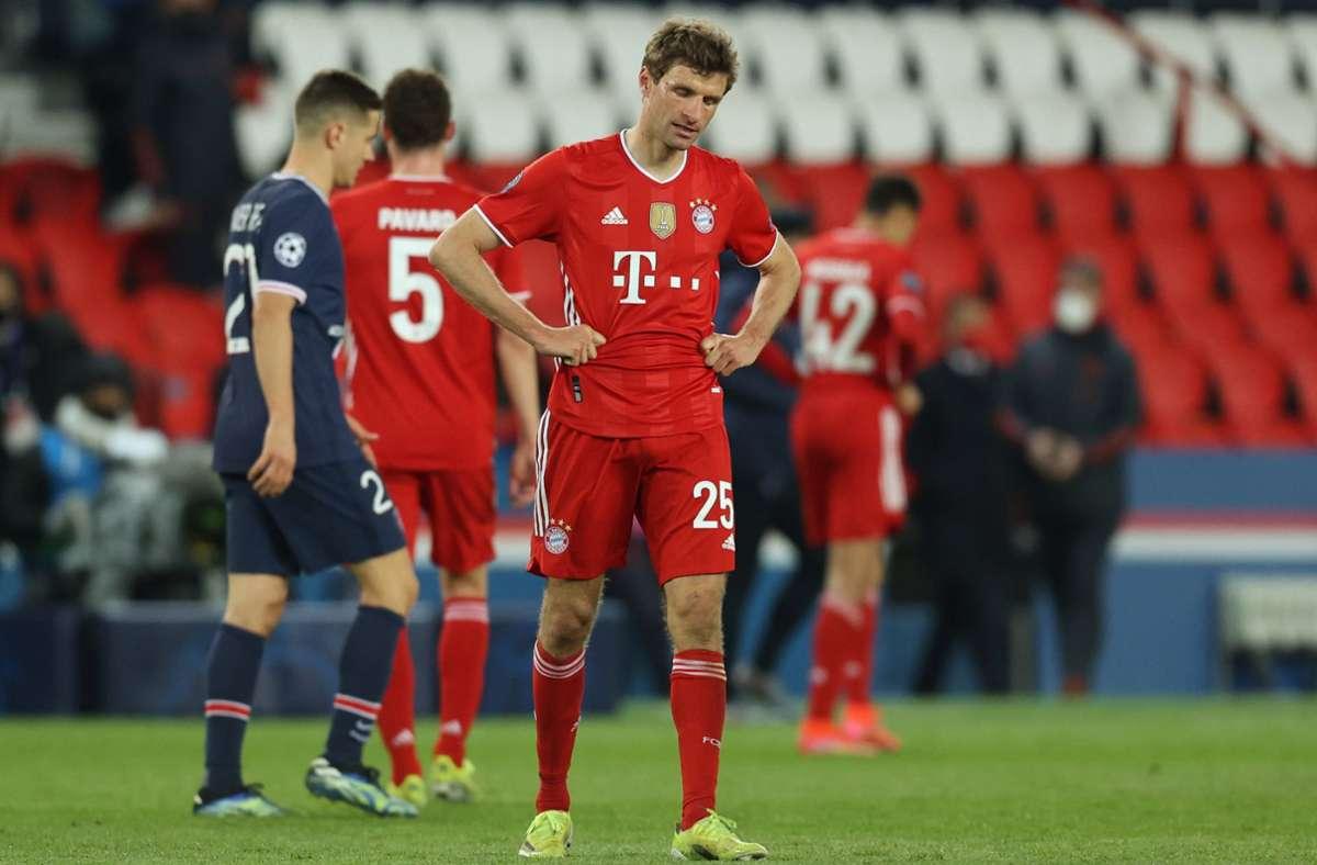 Thomas Müller hat wie seine Kollegen vom FC Bayern gegen PSG alles gegeben, doch es fehlte eben dieses eine Tor zum 2:0, was das Weiterkommen bedeutet hätte. Foto: dpa/Sebastien Muylaert