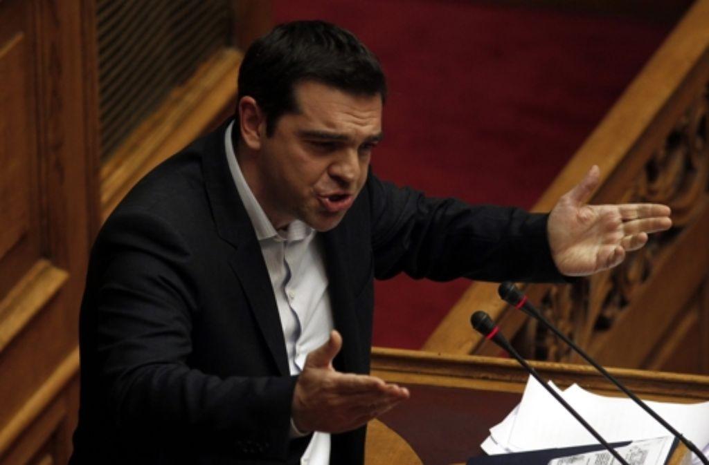 Auftritt im griechischen Parlament: Premierminister Alexis Tsipras Foto: dpa