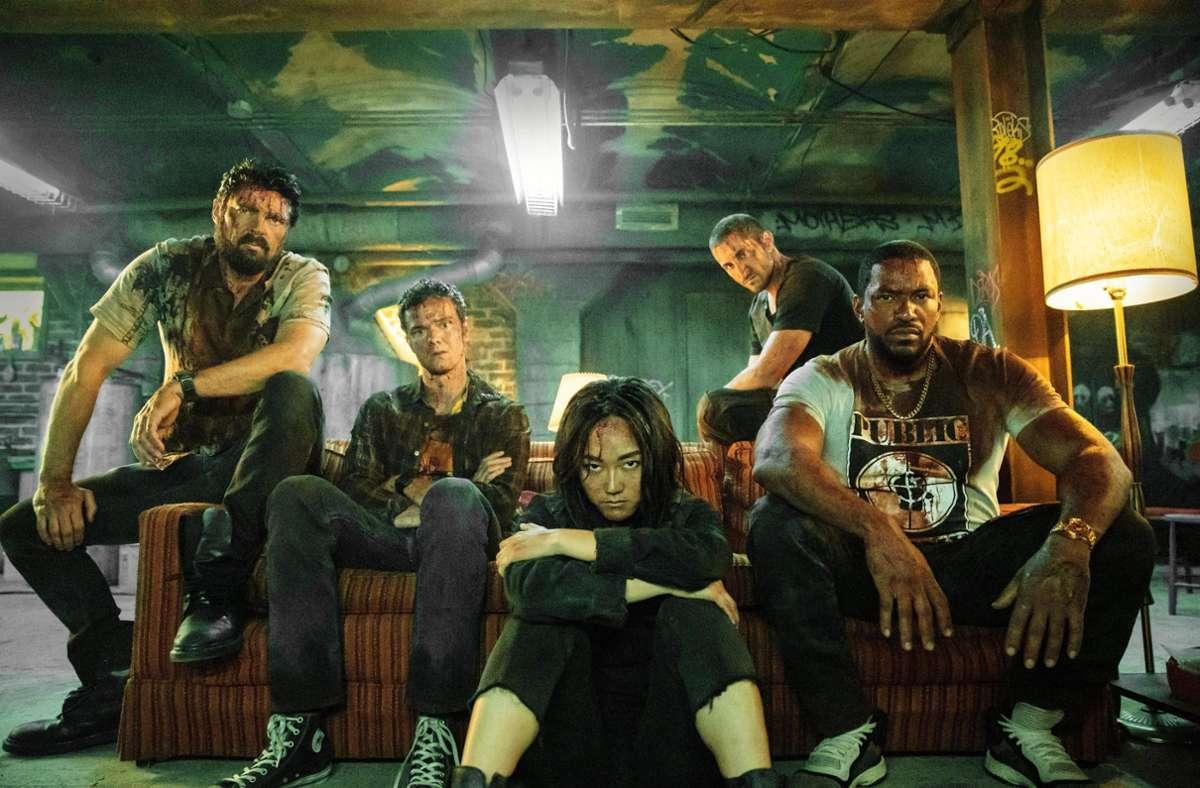 """Sehen so erfolgreiche Rächer aus? Die Rebellen um Billy Butcher (Karl Urban, links) in """"The Boys"""" Foto: Amazon Studios/Jasper Savage"""