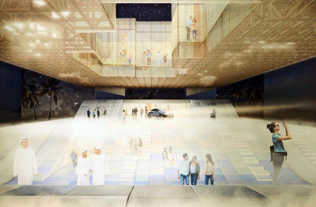 Der Entwurf für das Baden-Württemberg-Haus auf der Weltausstellung im kommenden Jahr in Dubai setzt auf Leichtigkeit. Klicken Sie sich durch unsere Bilderstrecke, um zu sehen, wie das Gebäude aussehen soll. Foto: Arge VONM/Knippers Helbig/Transsolar