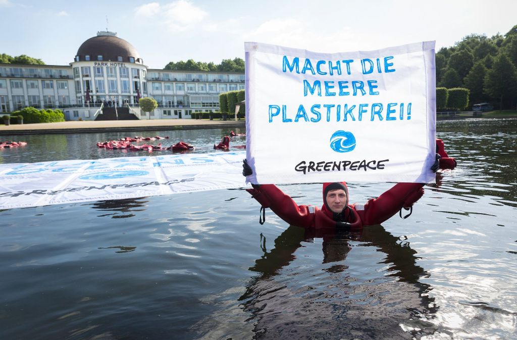 Am Rande des G20-Gipfels haben Greenpeace-Aktivisten protestiert. Foto: Greenpeace