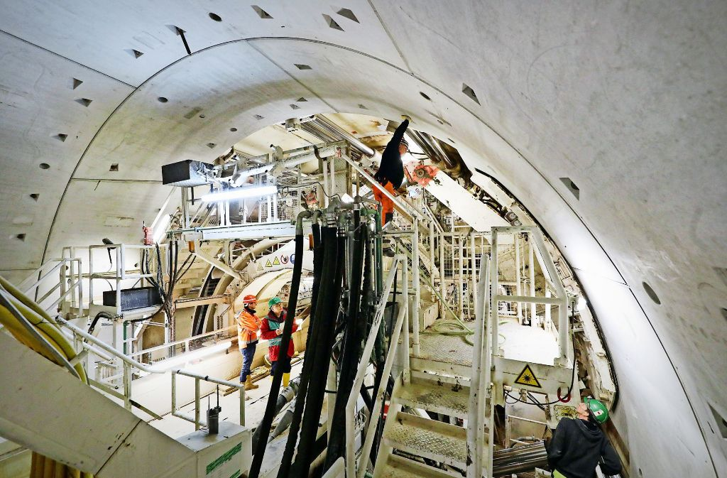 Eine Aufnahme vom Februar: Teile des Rastatter Tunnels sind fertig – jetzt gibt es Risse. Foto: