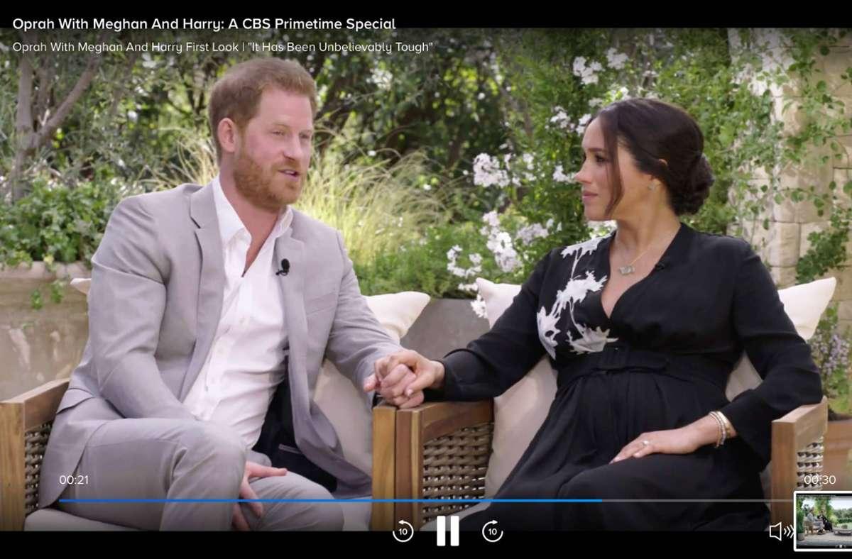 Herzogin Meghan und Prinz Harry bei ihrem Interview mit Oprah Winfrey. Foto: imago images/ZUMA Wire/CBS via www.imago-images.de