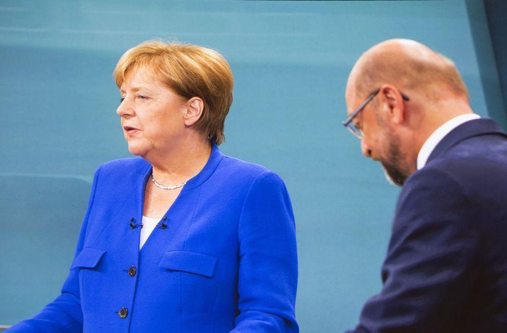 Angela Merkel und Martin Schulz beim TV-Duell. Foto: Getty Images Europe