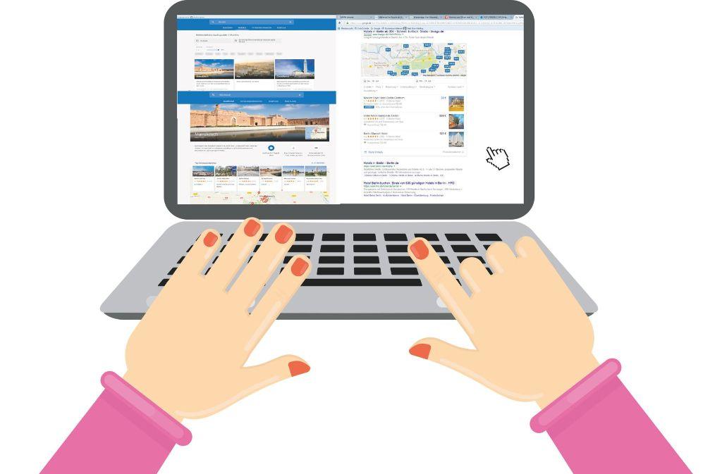 Die Screenshots zeigen, wie Google Suchergebnisse für Reiseziele und Hotels anzeigt. Foto: artinspiring/Adobe Stock, Montage: StZN