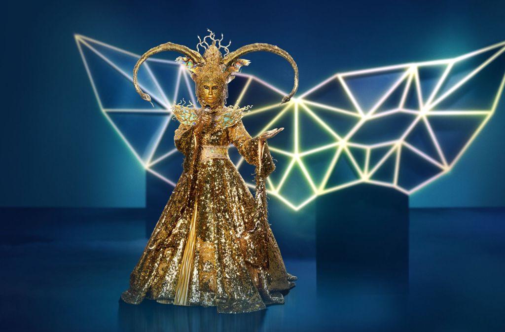 """Wer verbirgt sich hinter der Maske? Die Figur """"Die Göttin"""" in """"The masked Singer"""" Foto: Pro7"""