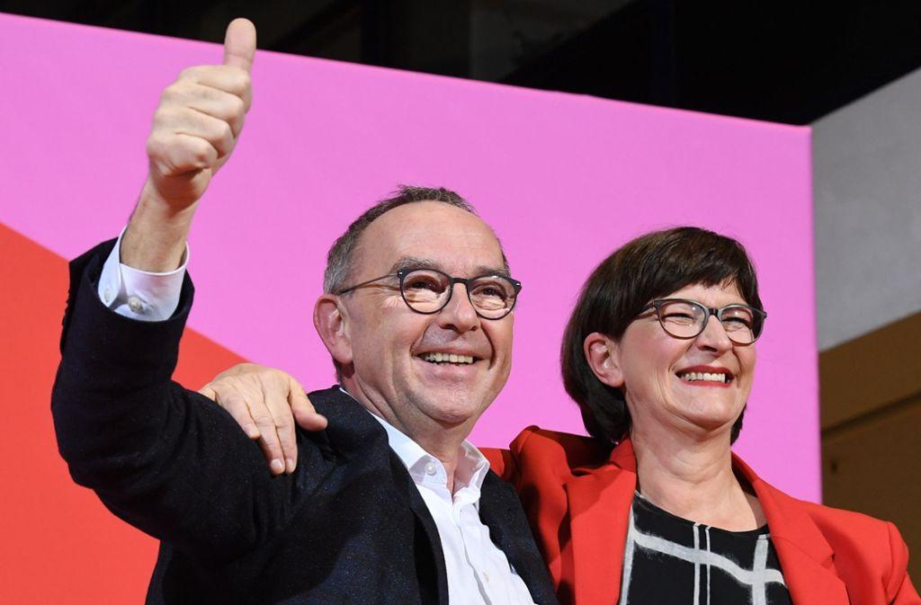 Norbert Walter-Borjans und Saskia Esken: Die neue Doppelspitze der SPD Foto: dpa/Jörg Carstensen