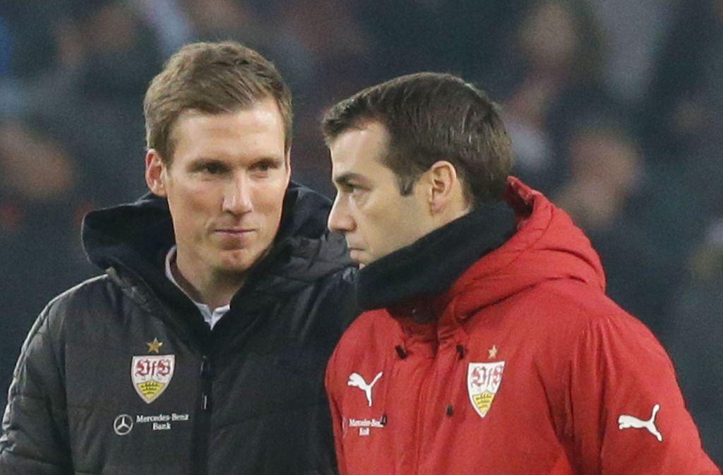Hannes Wolf (li.), einst Trainer beim VfB Stuttgart, steht nun beim Hamburger SV unter Vertrag. Sein damaliger Assistent Miguel Moreira folgte ihm diesmal nicht. Foto: Baumann