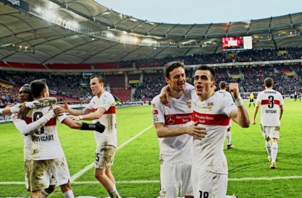 Beim VfB kennt der Jubel nach dem 2:0-Sieg gegen Berlin keine Grenzen. Foto: imago