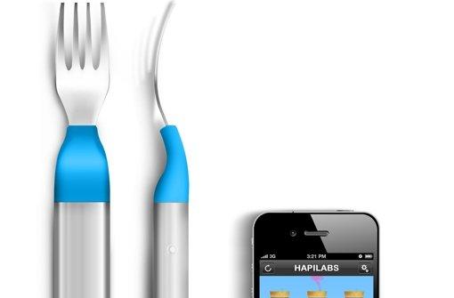 Die Gabel Hapifork meldet dem Smartphone, wie schnell der Nutzer isst. Foto: Hapilabs