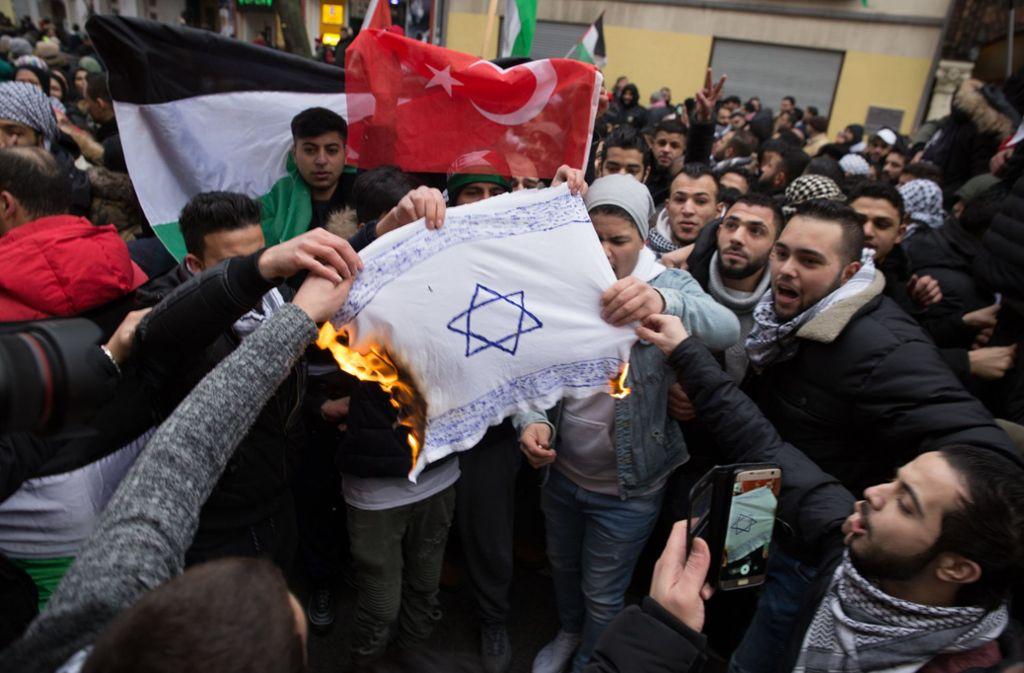 Demonstranten in Berlin verbrennen eine Israelflagge. Foto: dpa