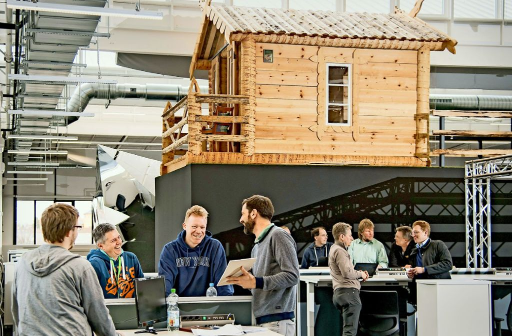 Im neuen Start-up-Zentrum von Bosch in Ludwigsburg kann man seine Besprechung auch in einer norwegischen Holzhütte abhalten. Foto: Robert Bosch GmbH