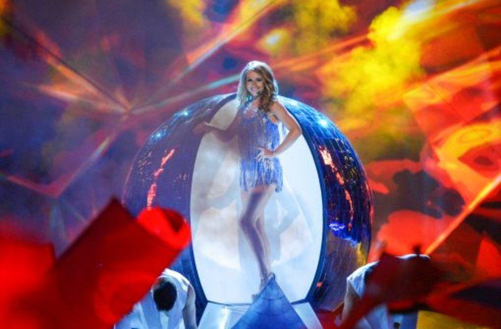 Die Weißrussin Aljona Lanskaja sang sich mit ihrem Titel Solayoh ins Finale. Foto: dpa