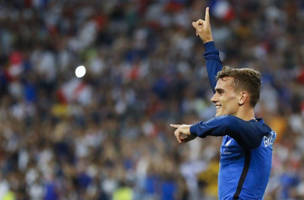 Da geht's lang ins Finale: Griezmann, der Held des EM-Halbfinales gegen Deutschland. Foto: AP