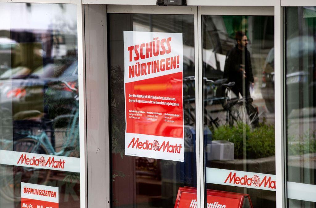 Die Schließung des Media Markts ist für die betroffenen Mitarbeiter und den Nürtinger Einzelhandel eine Katastrophe. Foto: Ines Rudel