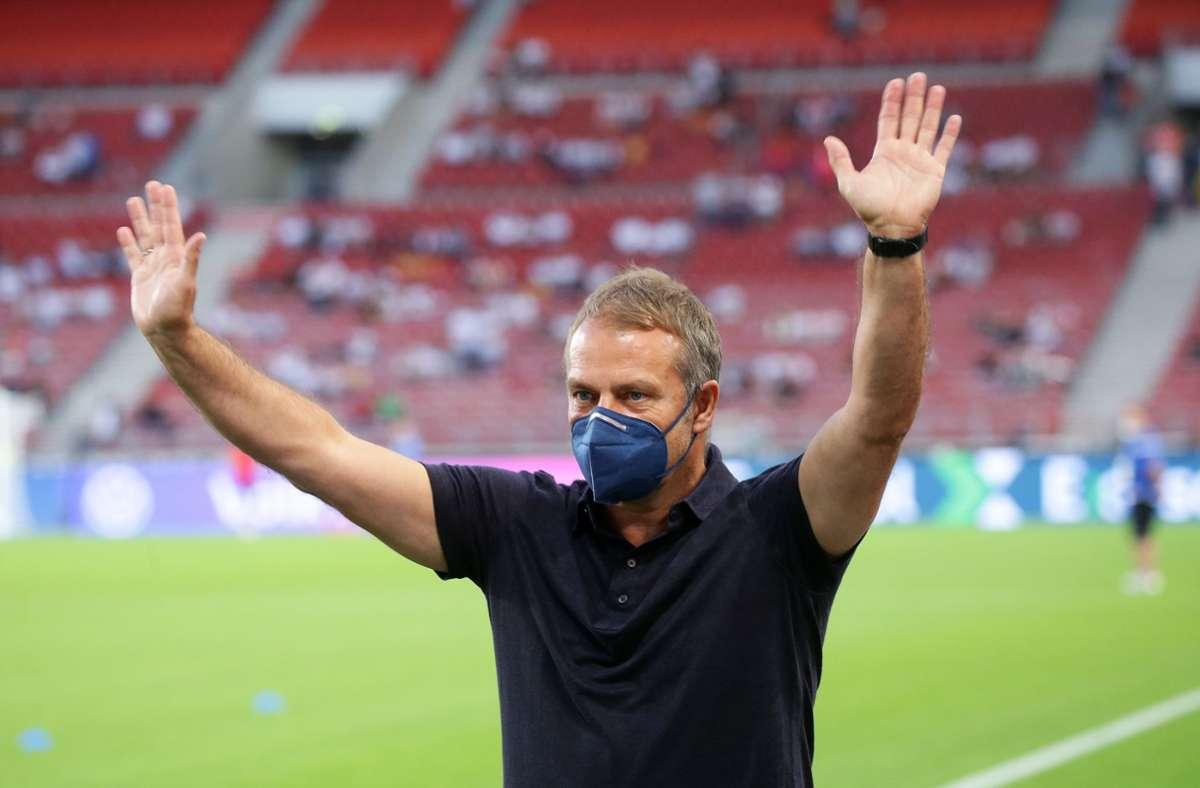 Bundestrainer Hansi Flick konnte mit seinem Heimdebüt sehr zufrieden sein. Foto: Baumann/Hansjürgen Britsch