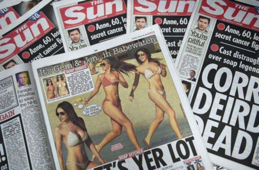 Jetzt gibt es bei The Sun also doch wieder die nackten Frauen auf Seite 3.  Foto: EPA