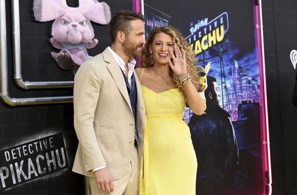 """Blake Lively und Ehemann Ryan Reynolds bei der Premiere von """"Pokémon: Meisterdetektiv Pikachu"""". Foto: AP"""