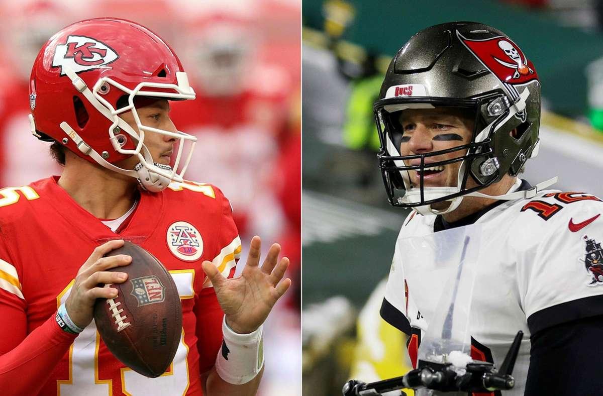 Auf das Duell der Star-Quarterbacks Patrick Mahomes (Kansas City Chiefs) und Tom Brady (Tampa Bay Buccaneers) freuen sich weltweit mehrere  100 Millionen Menschen. Foto: AFP/JAMIE SQUIRE