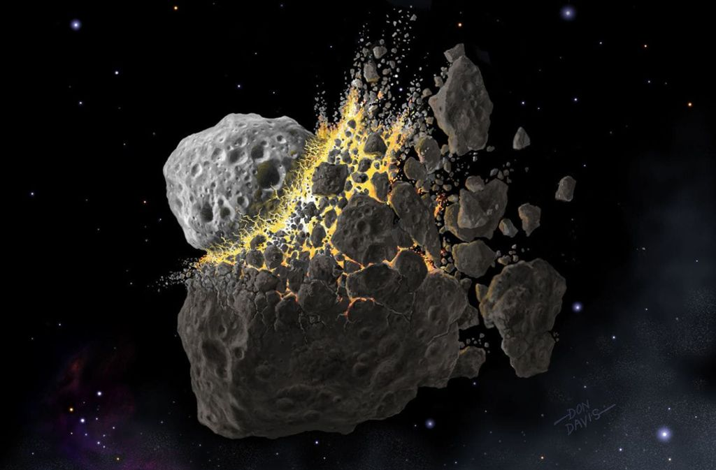 Illustration einer Asteroiden-Kollision. Foto: Don Davis/Eurekalert/dpa