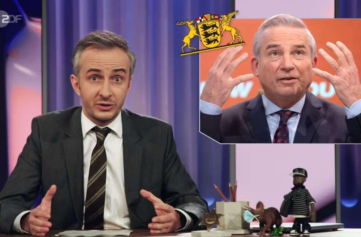 Jan Böhmermann wirft Thomas Strobl unter anderem ein altes Affärchen vor. Foto: ZDF/Screenshot