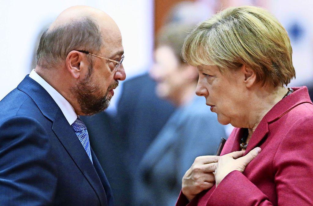 In diesem Bundestagswahlkampf wird es nur eine direkte Konfrontation von Martin Schulz und Angela Merkel geben – in einem Berliner Fernsehstudio. Foto: dpa