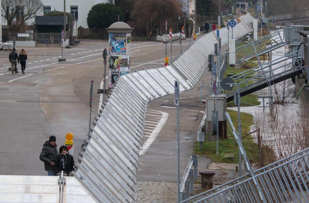 Hochwasserschutz an der Donau in Regensburg Foto: dpa