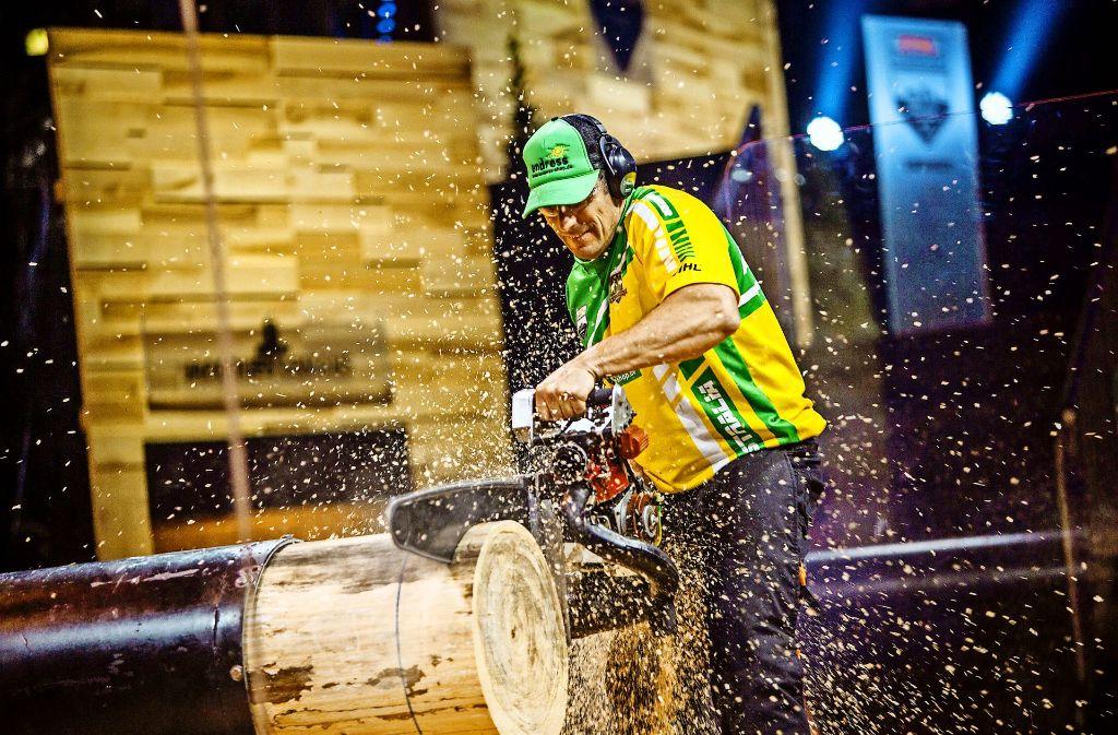 Ein Sägenwettbewerb für harte Kerle: Timbersports. Foto: Stihl